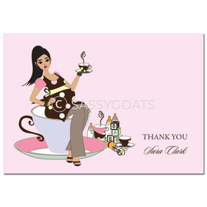 Baby Shower Thank You Card - Teacup Mommy Brunette