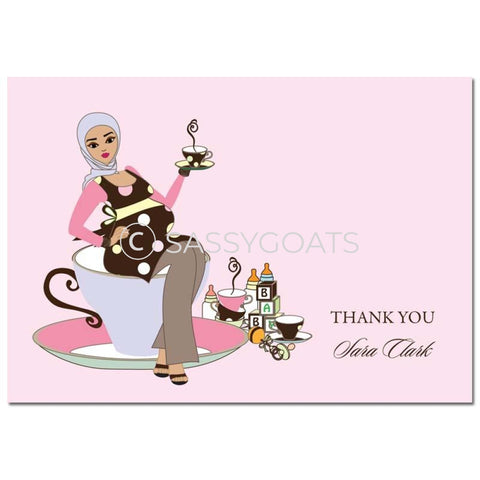 Baby Shower Thank You Card - Teacup Mommy Headscarf Hijab