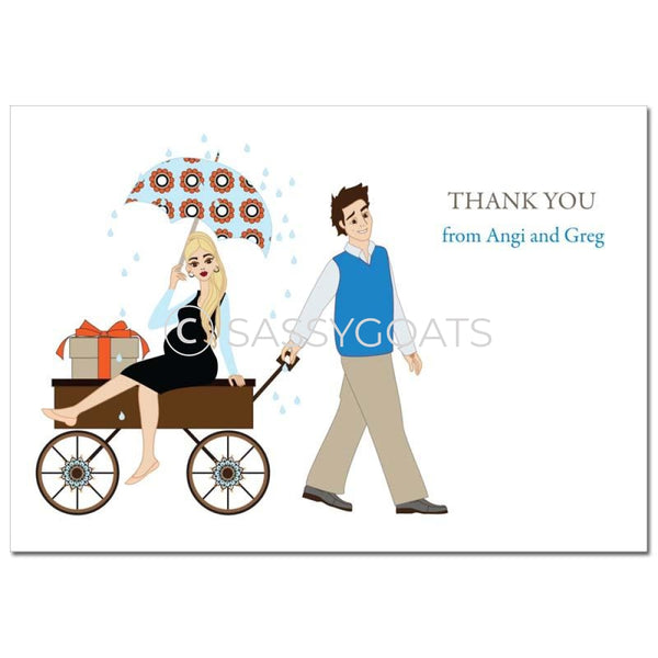 Baby Shower Thank You Card - Wagon Diva Blonde