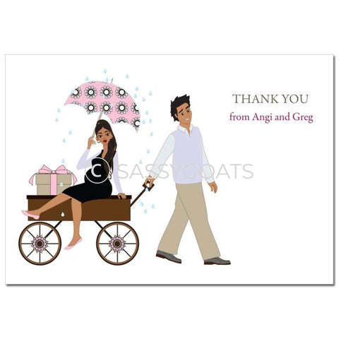 Baby Shower Thank You Card - Wagon Diva Brunette