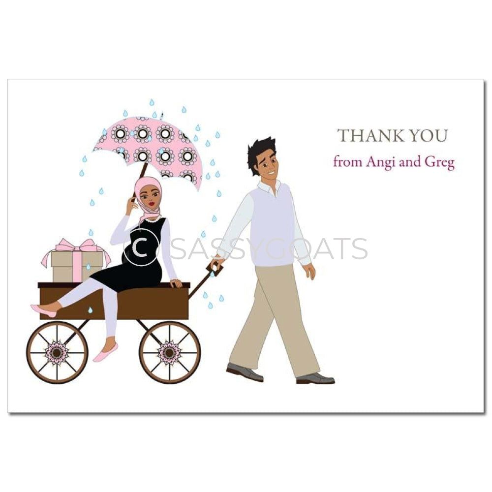 Baby Shower Thank You Card - Wagon Diva Headscarf Hijab