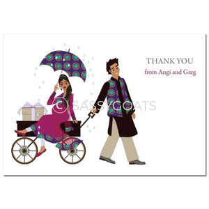 Baby Shower Thank You Card - Wagon Diva South Asian