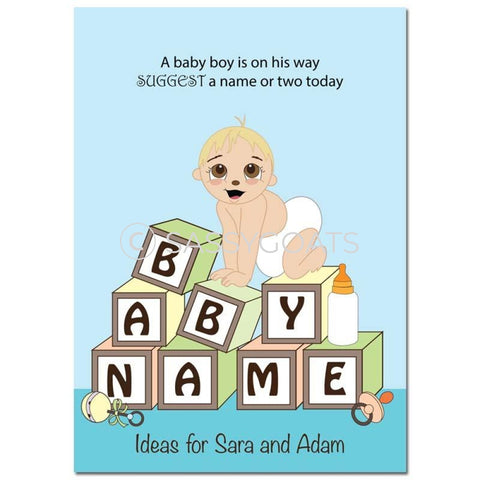 Blonde Baby Shower Games - Blocks Name Suggestions