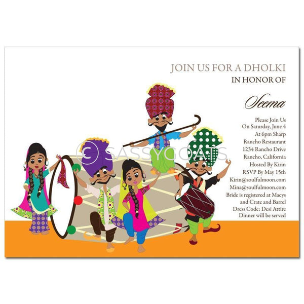 Bridal Shower Dholki Invitation - Bhangra Party Indian