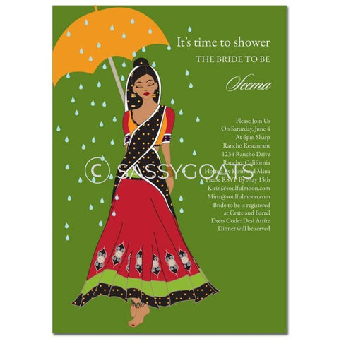 Bridal Shower Dholki Invitation - Catwalk Umbrella Indian