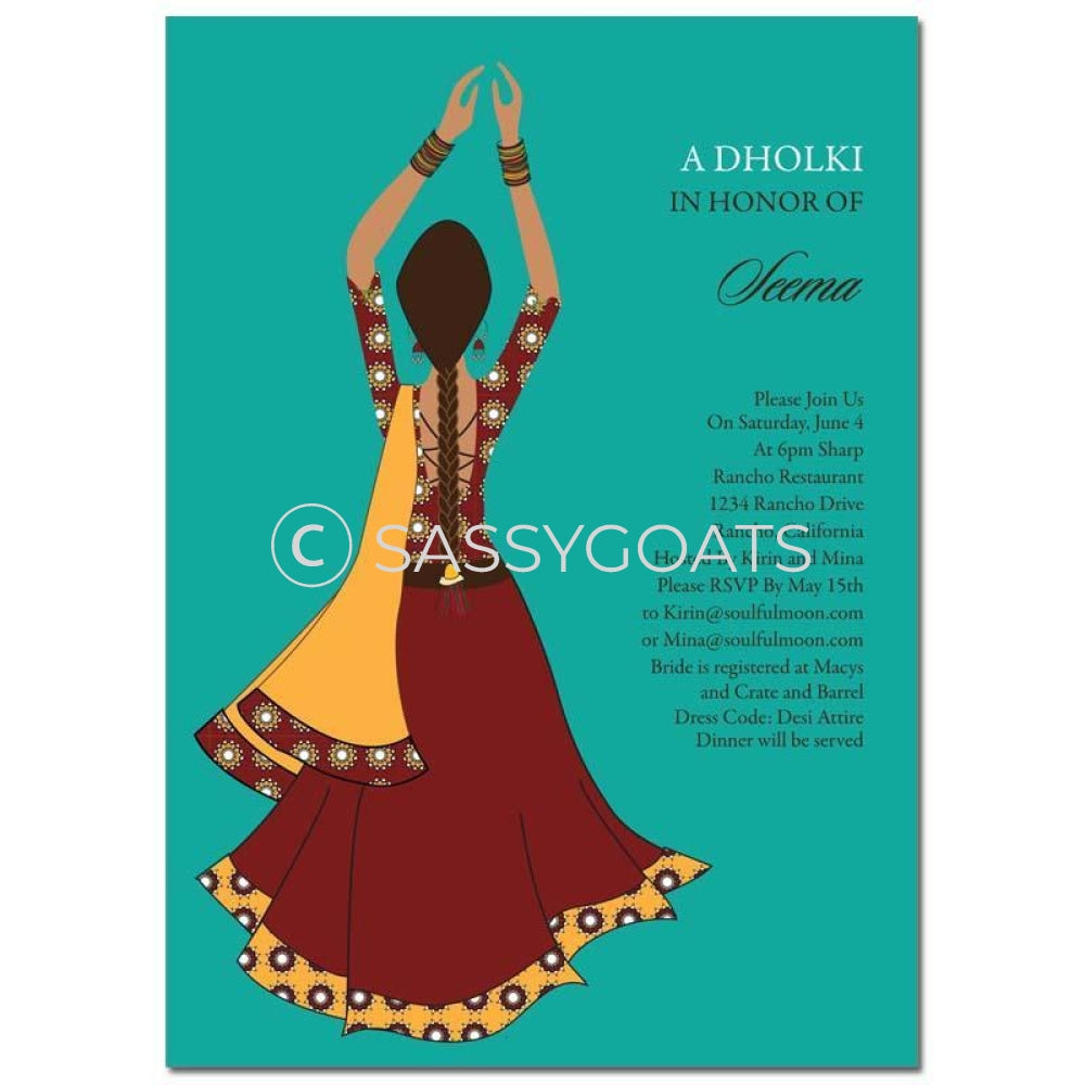 Bridal Shower Dholki Invitation - Clapping Diva Indian
