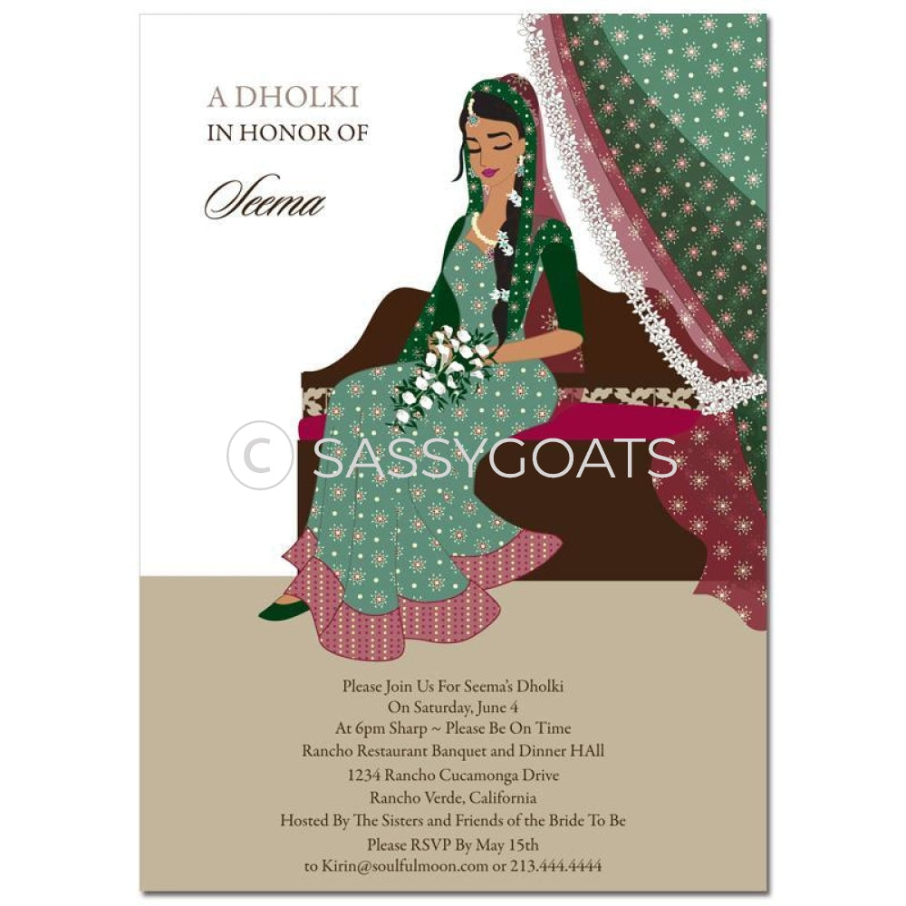 Bridal Shower Dholki Invitation - Dainty Diva Indian