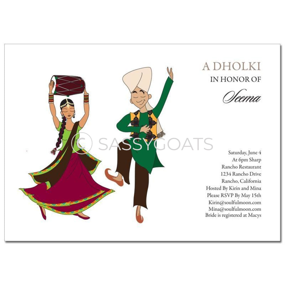 Bridal Shower Dholki Invitation - Dancing Couple Indian