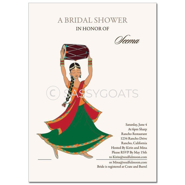 Bridal Shower Dholki Invitation - Dancing Diva Indian