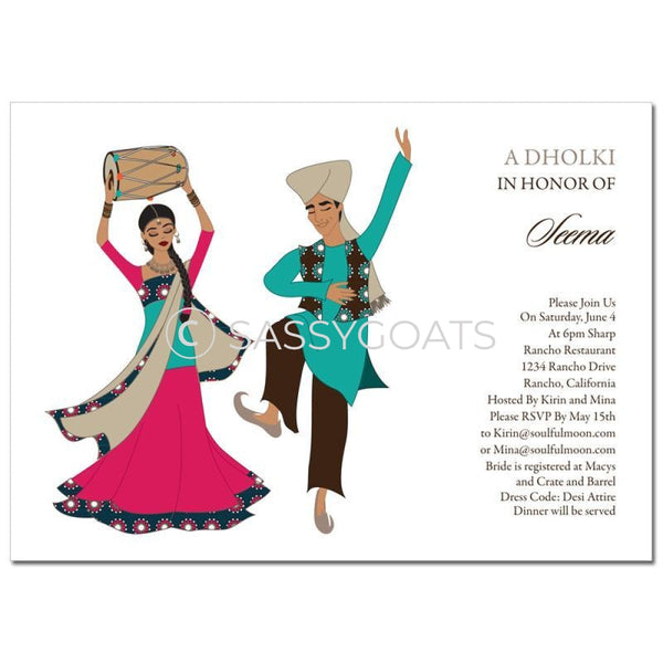 Bridal Shower Dholki Invitation - Dancing Stars Indian