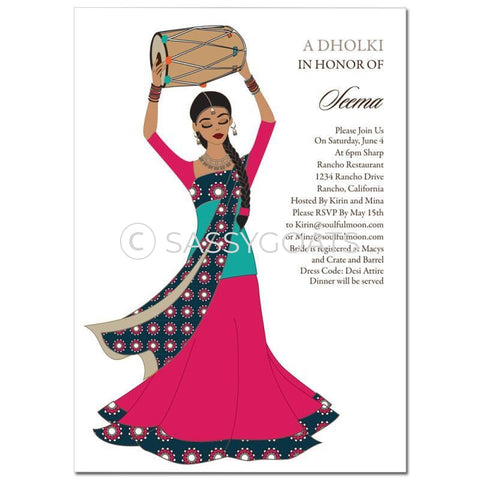 Bridal Shower Dholki Invitation - Dhol Girl Indian