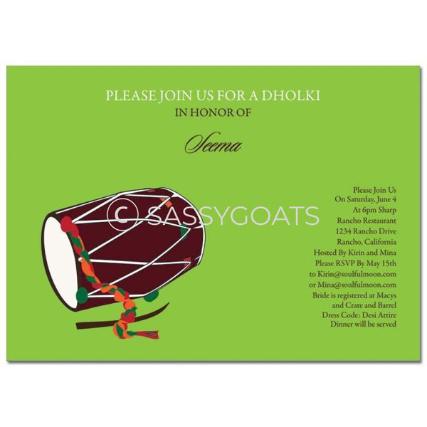 Bridal Shower Dholki Invitation - Dhol Indian