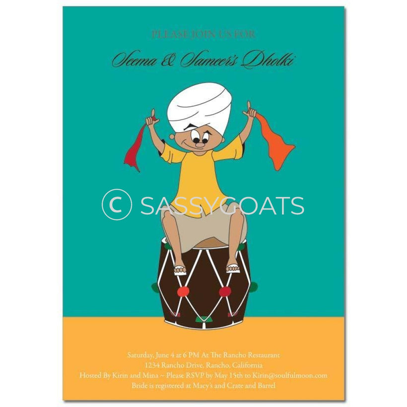 Indian Dholki Bridal Invitations