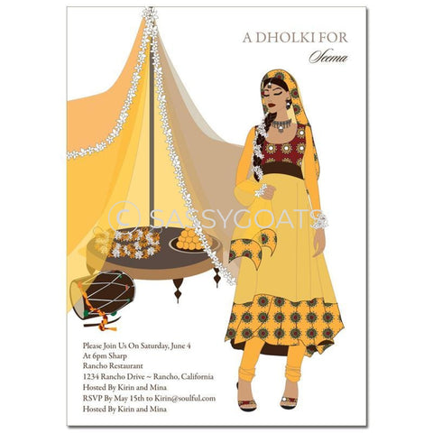 Bridal Shower Dholki Invitation - Diva Indian