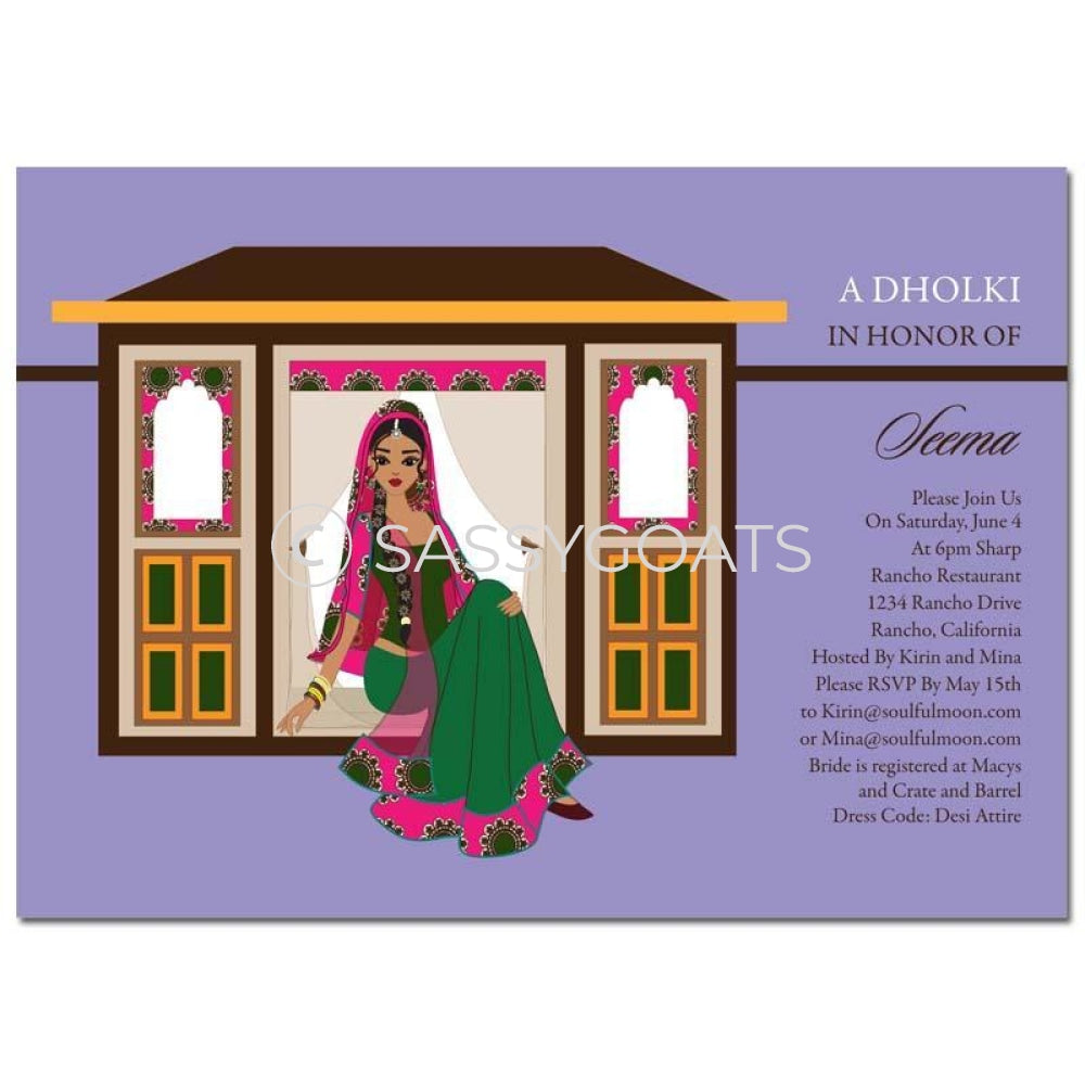 Bridal Shower Dholki Invitation - Doli Bride Indian