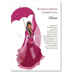 Bridal Shower Dholki Invitation - Flower Indian