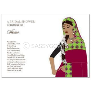 Bridal Shower Dholki Invitation - Gajra Profile Indian