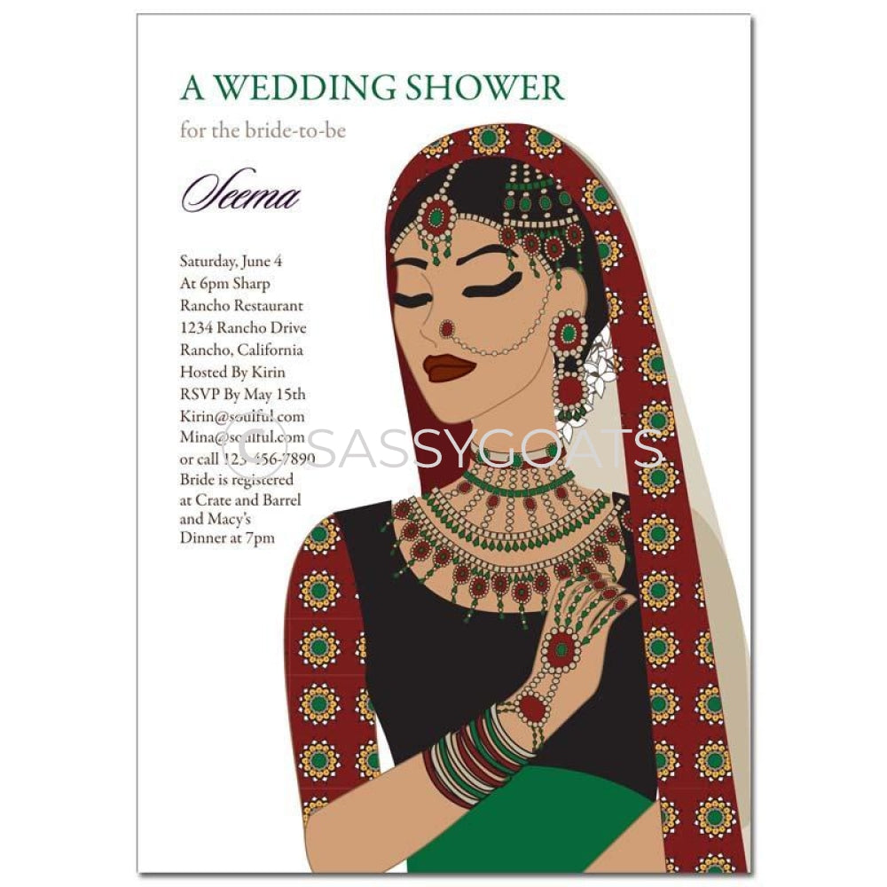 Bridal Shower Dholki Invitation - Maharani Diva Indian