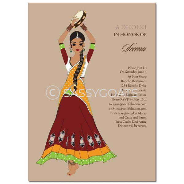 Bridal Shower Dholki Invitation - Tambourine Diva Indian