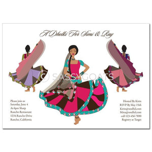 Bridal Shower Dholki Invitation - Twirling Divas Indian