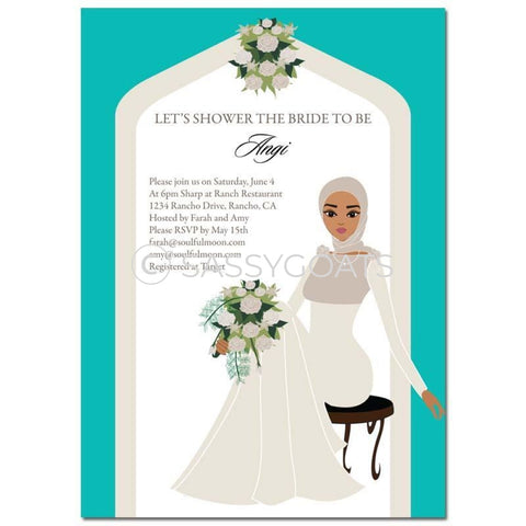 Bridal Shower Invitation - Arch Diva Headscarf Hijab