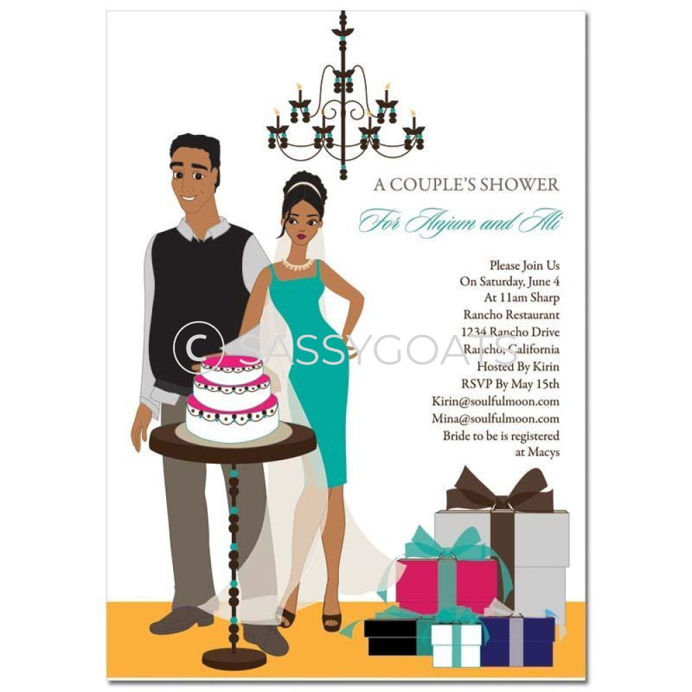 Bridal Shower Invitation - Back To Couple African American