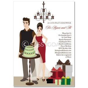 Bridal Shower Invitation - Back To Couple Brunette
