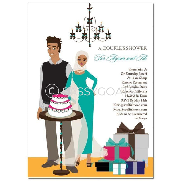 Bridal Shower Invitation - Back To Couple Headscarf Hijab