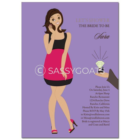 Bridal Shower Invitation - Bashful Diva Brunette