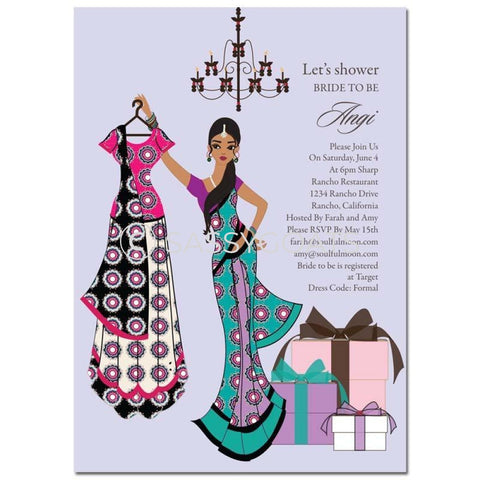 Bridal Shower Invitation - Clothes Indian