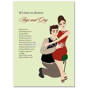 Bridal Shower Invitation - Couple Hugs Brunette