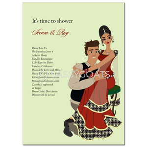 Bridal Shower Invitation - Couple Hugs Indian