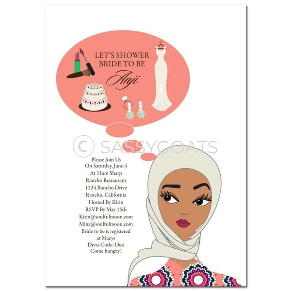 Bridal Shower Invitation - Planner Headscarf Hijab