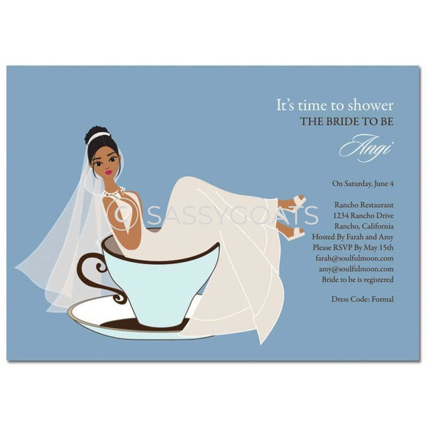 Bridal Shower Invitation - Teacup Bride African American