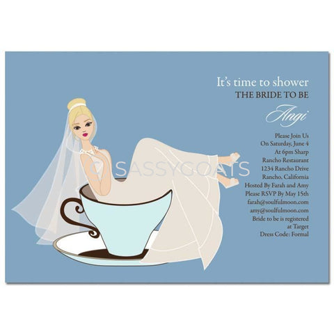 Bridal Shower Invitation - Teacup Bride Blonde