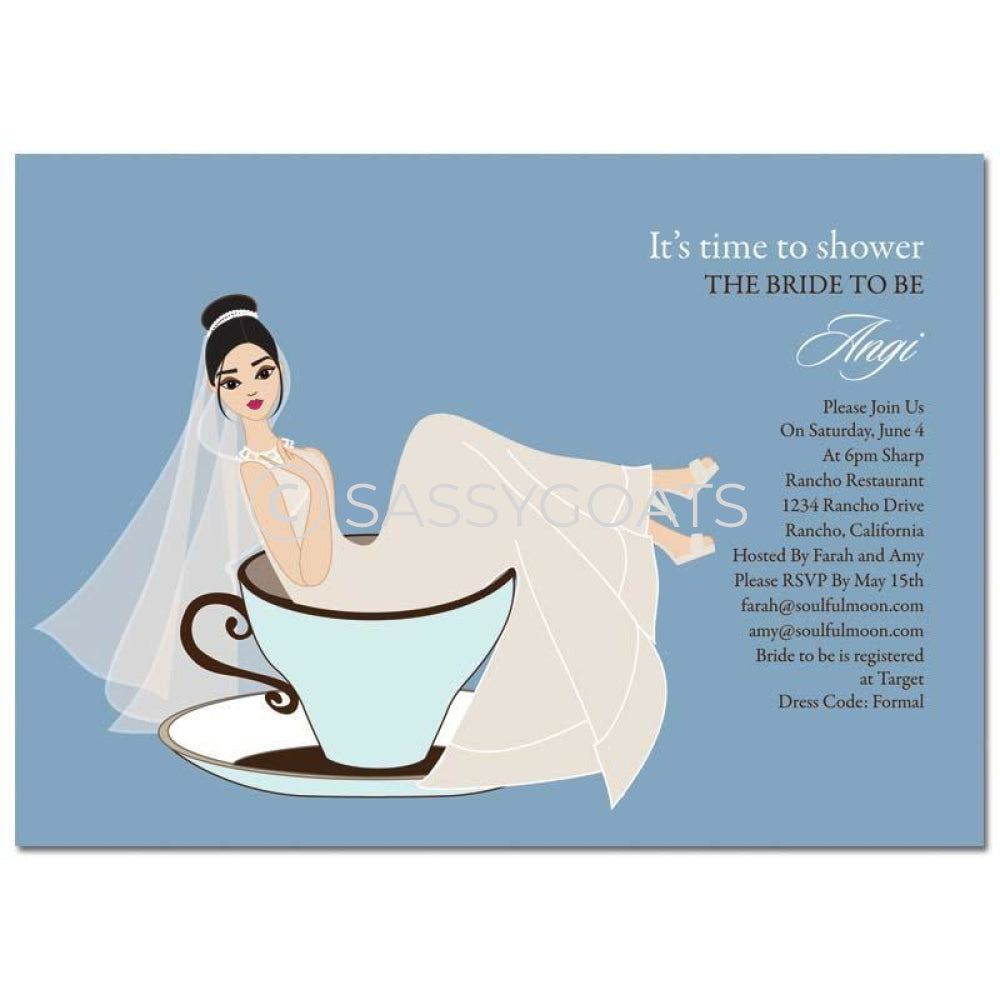 Bridal Shower Invitation - Teacup Bride Brunette