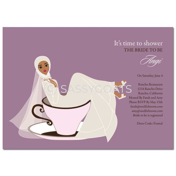 Bridal Shower Invitation - Teacup Bride Headscarf Hijab