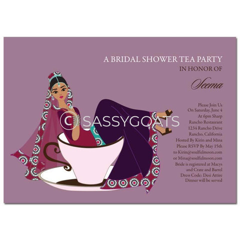 Bridal Shower Invitation - Teacup Bride Indian