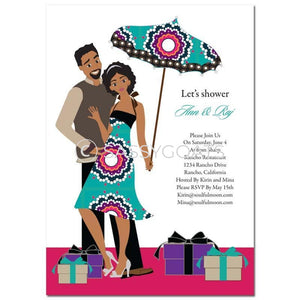 Bridal Shower Invitation - Umbrella Couple African American