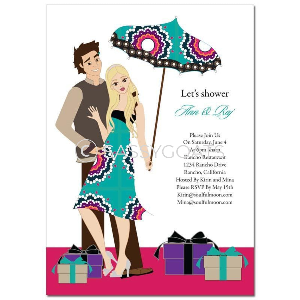 Bridal Shower Invitation - Umbrella Couple Blonde