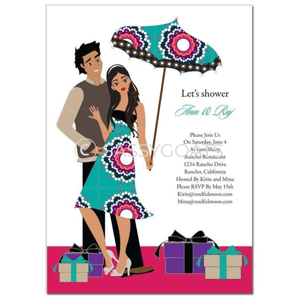 Bridal Shower Invitation - Umbrella Couple Brunette