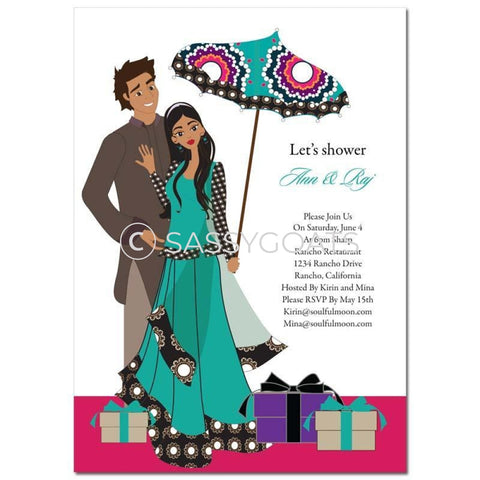 Bridal Shower Invitation - Umbrella Couple Indian