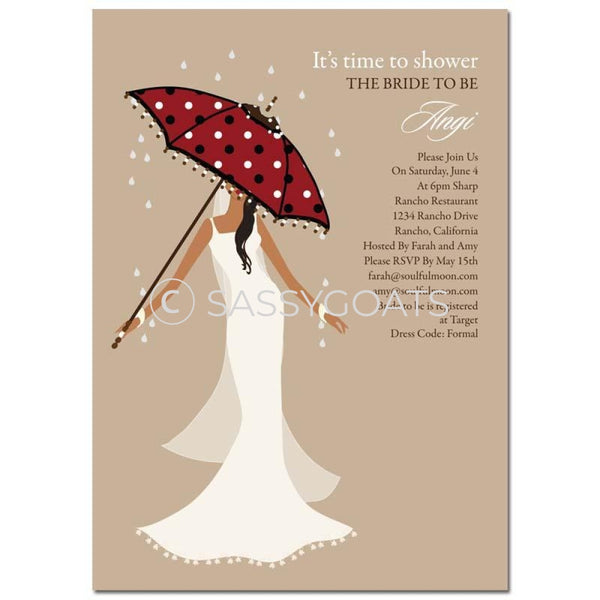 Bridal Shower Invitation - Umbrella Diva African American