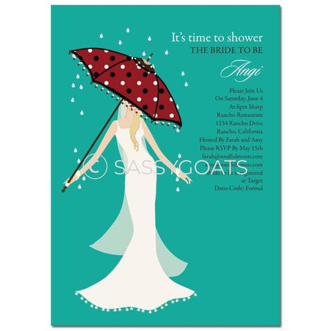 Bridal Shower Invitation - Umbrella Diva Blonde