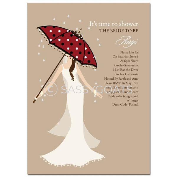 Bridal Shower Invitation - Umbrella Diva Brunette