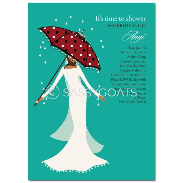 Bridal Shower Invitation - Umbrella Diva Headscarf Hijab