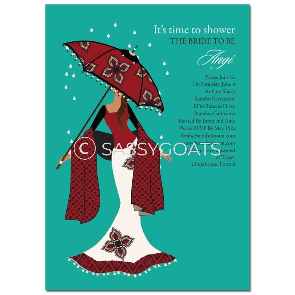 Bridal Shower Invitation - Umbrella Diva Indian