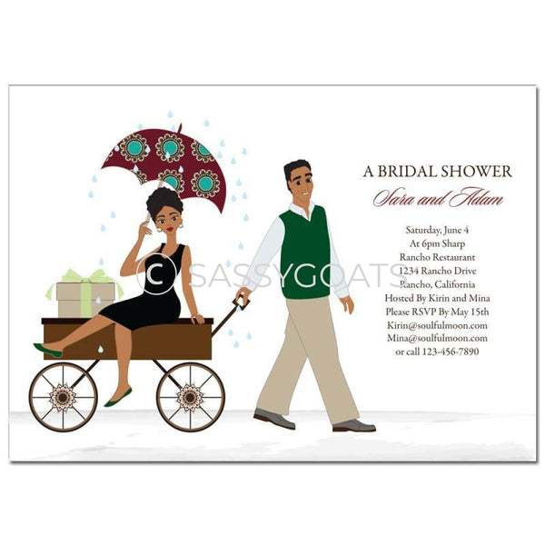 Bridal Shower Invitation - Wagon Diva African American
