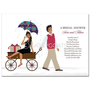 Bridal Shower Invitation - Wagon Diva Brunette