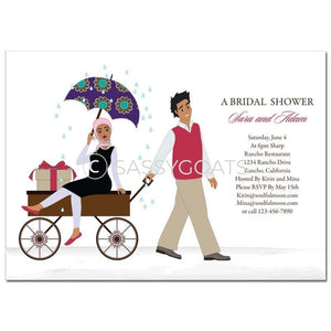 Bridal Shower Invitation - Wagon Diva Headscarf Hijab